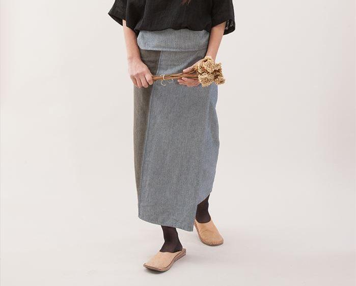 二枚布サロン アジアン筒型巻きスカートフリーサイズ腰紐付き シサム工房
